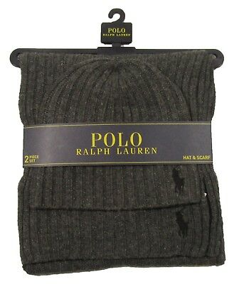 Polo Ralph Lauren Men's Charcoal Gray Wool Blend Ribbed Hat & Scarf 2 Piece Set