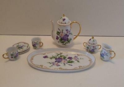 Purple Violet Floral Tea Set Porcelain Retired Collectible Miniature Ranger