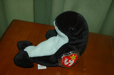 Waves the Orca Killer Whale - Ty Beanie Baby - Sealife -  MWMT - Fast Shipping