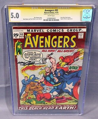 THE AVENGERS #93 (Signed by Neal Adams) White Pages CGC 5.0 Marvel Comics 1971