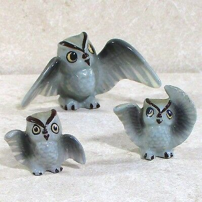 "3 piece gray owl family china figurines Japan 1.6"" & 1"" ᵇ v2"
