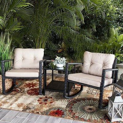3 PC Rocker Rattan Wicker Furniture Table Chair Sofa Cushioned Patio Outdoor