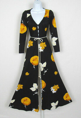 VTG 1960s 70s MOD NEW LEAF CALIFORNIA FLORAL PALAZZO JUMPSUIT POLY BLACK YELLOW