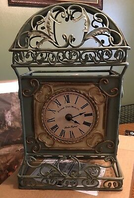 Rod Iron Mantle Clock With Quarts Movement