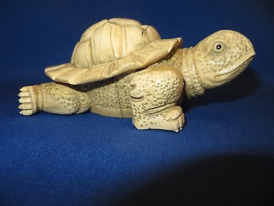 Rare Stunning Old China Handicraft Carved Natural Bone Large Fine Detail Turtle