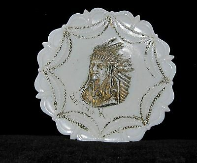 ANTIQUE WESTMORLAND INDIAN HEAD MILK GLASS BEADED LOOP 7-3/4 inches PLATE