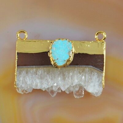 Rare Amethyst Druzy Slice & Genuine Turquoise Connector Gold Plated H111492