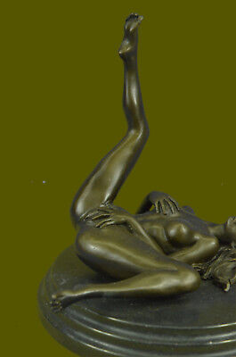 Handcrafted SIGNED DECO BRONZE SCULPTURE CUBISM NUDE GIRL ABSTRACT MODERN ART