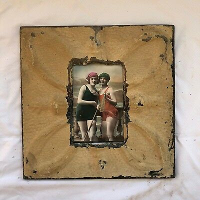 "Antique 1890's Ceiling Tin Picture Frame 4"" x 6"" Reclaimed Metal Brown 548-18"