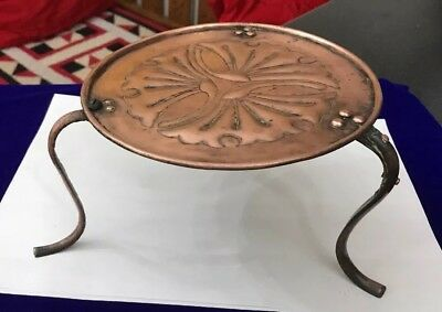Signed Keswick School Industrial Arts and Crafts Copper Footed  Trivit Repaired