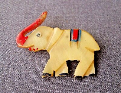 Vintage 1940's Carved & Painted Genuine Horn Elephant Pin