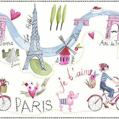 Girls Bedroom Kids Paris with Love White Multi Glitter FRIEZE Border - 696302