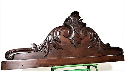 Architectural mantel scroll leaves pediment Antique french wood carving crest