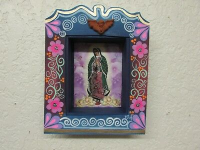 Retablo Nicho #5-Mexican Folk Art-8.5x10.5x2 in.-Virgen de Guadalupe-Painted
