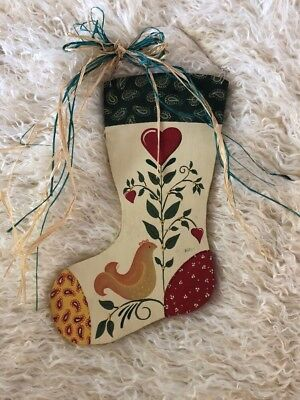 Beautiful Tole Painted Wooden Country Stocking Christmas Toleware Hanging Raffia