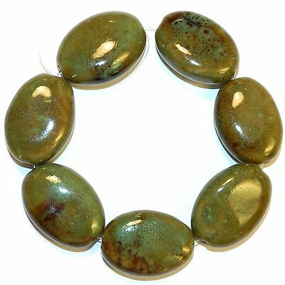 """CPC326 Brown & Green Multi-tone Large 32mm Flat Puffed Oval Porcelain Beads 8"""""""