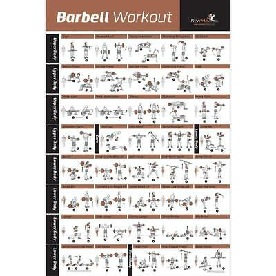 BARBELL WORKOUT EXERCISE POSTER LAMINATED - Home Gym Weight Lifting Chart -...