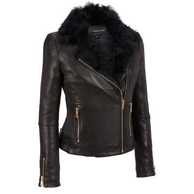 Wilsons Leather Womens Asymmetric Cinch Side Leather Cycle Jacket W/Fur