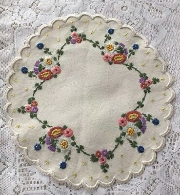 """Vintage Hand Embroidered Linen Doily Flowers Floral Round 11 1/2"""""""