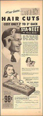 1949 vintage haircare AD STA NEET the Family Barber Hair cuts shave legs 102818