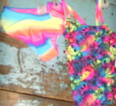 104c316c4938e NWT Girls tankini 2 piece swimsuit set happy faces emoji black and pink xs  4 5