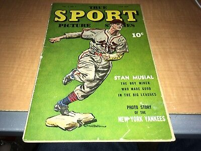 1944 True Sport Picture Stories Comic Stan Musial Cover W/Photo Story Yankees