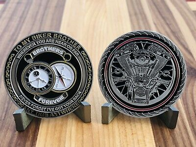 """Motorcycle Challenge Coin """"to My Biker Brother Anytime Anywhere"""" Collectors Coin"""