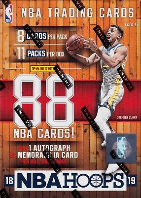 2018-19 Panini Hoops Basketball sealed blaster box 11 packs 8 NBA cards 1 hit
