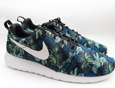 DS NIKE ROSHE Run Floral Print Size 11 BluePoison Green