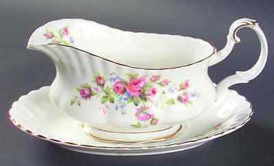 Royal Albert MOSS ROSE (MONTROSE) Gravy Boat & Underplate 618276