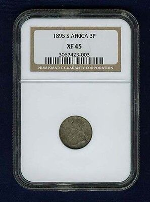 South Africa  Republic  1895  Three Pence Silver Coin, Certified Ngc Xf45