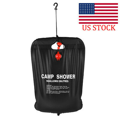20L / 5 Gallons Solar Energy Heated Camp Shower Bag Outdoor Camping Hiking M9Y0