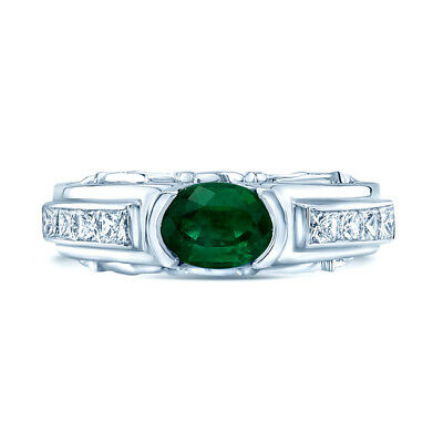 1.13 TCW 18k White Gold Natural Emerald And Princess Cut Diamond Semi Bezel Ring