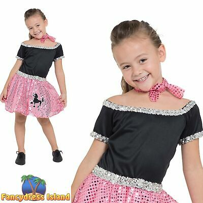 2ae58558a352 Rock n Roll Dress Sequin Pink Poodle 50's Girls Childs Fancy Dress Costume