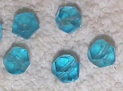 Vintage Old Cut Aqua Glass Beads 9Mm Really Nice   12  Beads Blue