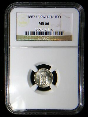 Sweden 1887 10 Ore *NGC MS-66* Sharp Bright Lustrous >Tops Pops< Finest Known