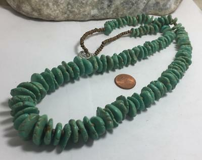 """27"""" huge bold southwestern reconstitute turquoise flat bead necklace/(m364-w5)"""