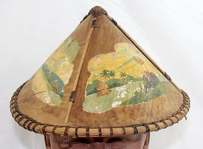 Antique Asian Painted Bamboo Hat