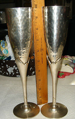 Vtg Romance Hammered Silver White Brass Tall Fancy Wine Glass Heavy Goblet Set 2