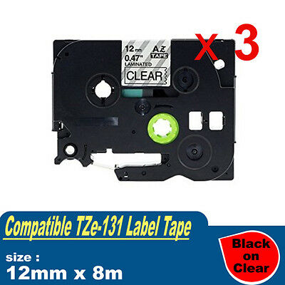3x Laminated label tape compatible for Brother P-touch PT1005 Tz Tze 131 12mm 8m