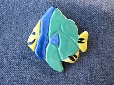 Vintage hand crafted pottery fish  pin
