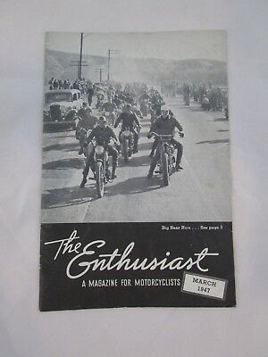 Vintage The Enthusiast Motorcycle Magazine March 1947 Harley Dick Page