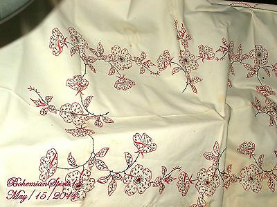 ANTIQUE 1930's VINTAGE FRENCH LINING,HAND EMBROIDERY FLOWERS WHITE TABLECLOTH