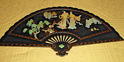 Black Lacquer Oriental Rare Asian Large Wall Art Fan Mother Of Pearl Geisha Girl
