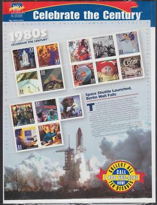 US #3190 MNH 33c Celebrate the Century 1980s se-tenant sheet 2000 cv $13