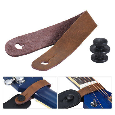 Leather Guitar Strap Button for Acoustic Electric Guitar Ukelele Bass Brown H2X1