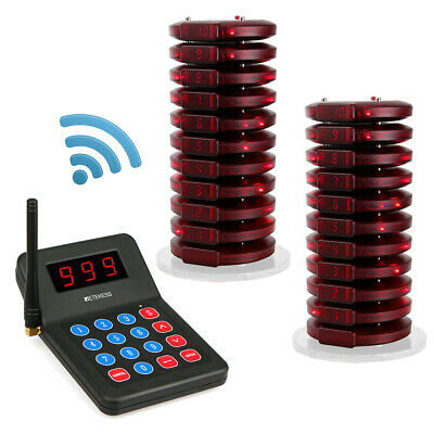 999CH Restaurant Wireless Paging Queuing System Transmitter+20*Coaster Pager AU