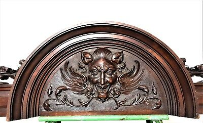 Architectural gothic winged devil pediment Antique french wooden salvaged crest