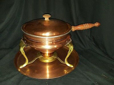Vintage Copper & Brass Chafing Dish Fondue Pot w Tray 6 pc Set Wood Handle USED
