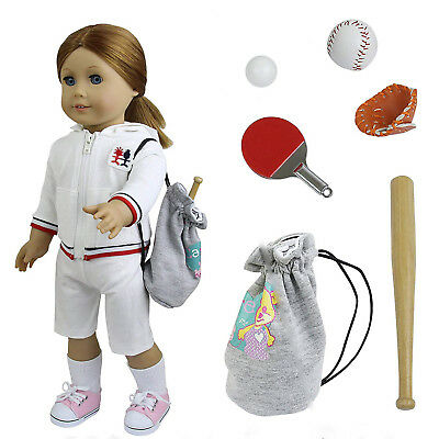 6pcs Doll Clothes For 18 inch Girl Doll Baseball Set Ping Pong Ball Bat Outfits